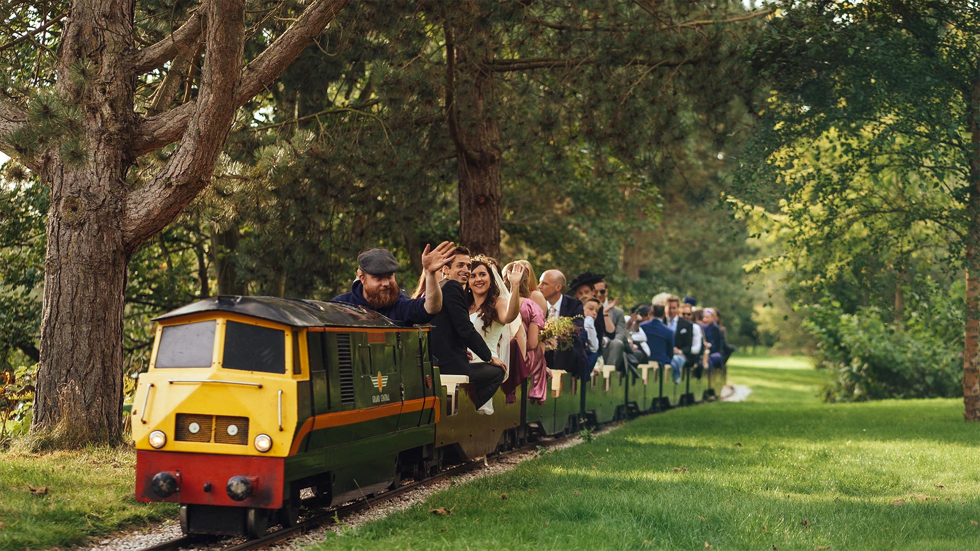 entertain your guests bride riding a train