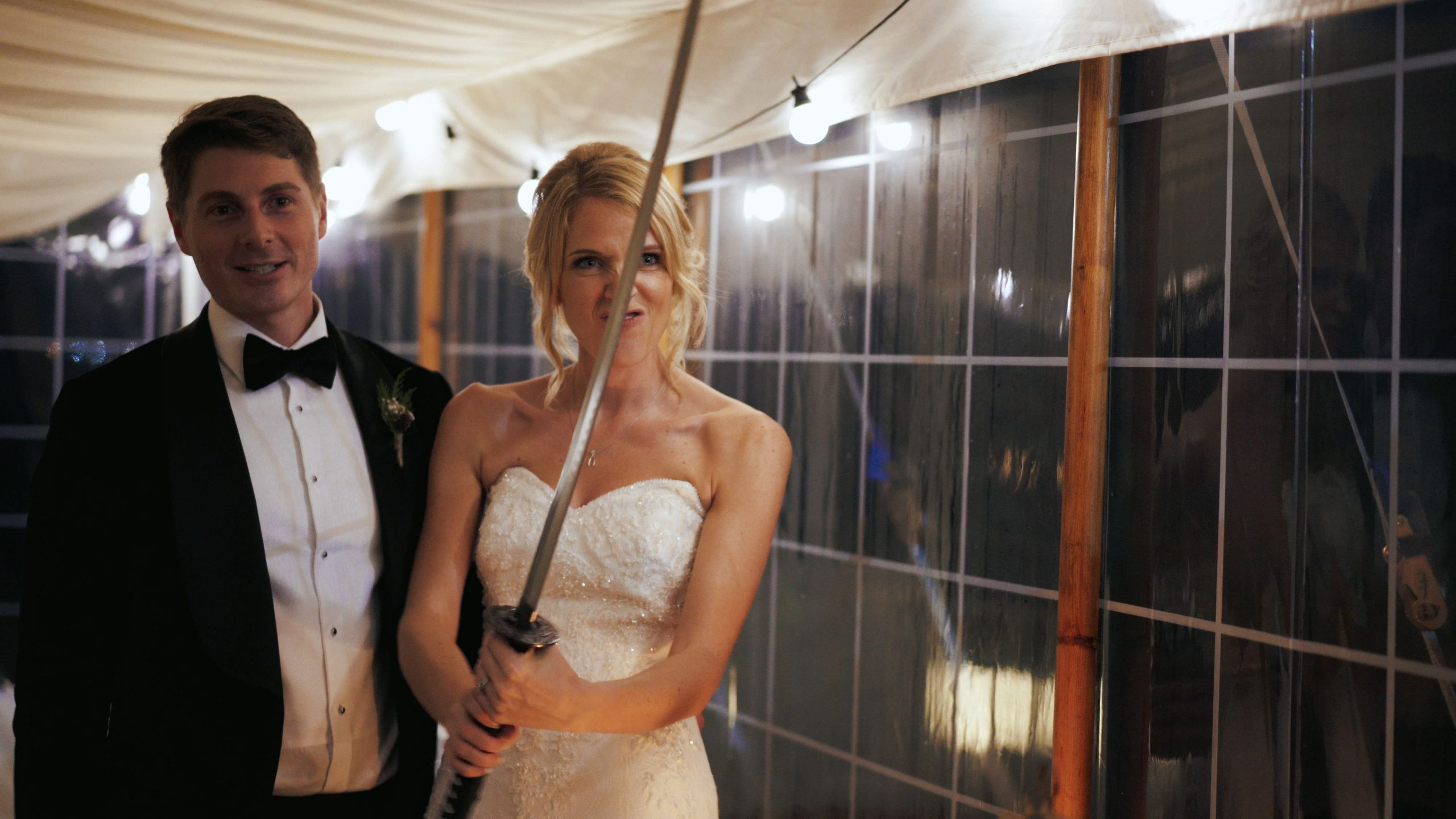 awesome groom speech bride with a sword